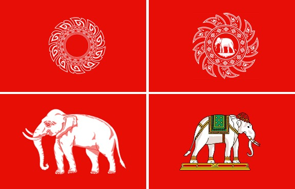 Les anciens drapeaux de la Thailande