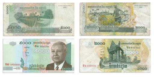 Les billets de riels aujourd'hui. Le visage du Roi Norodom Sihanouk est affiché sur ceux de 5 000 riels. Ils ont été mis en circulation le 1er avril 1980.