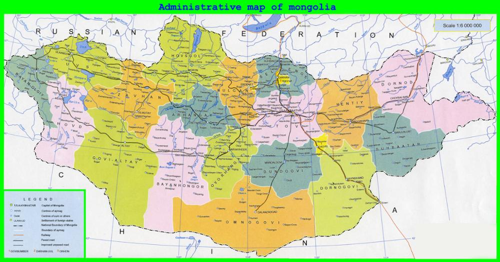 Les régions de Mongolie